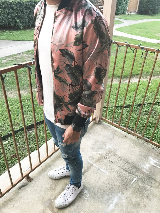 Tropical Print Bomber Jacket for Spring